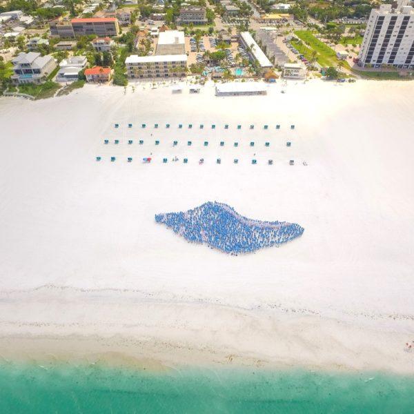 Vogelperspektive menschliche Muschel am weißen Strand von Fort Myers Beach