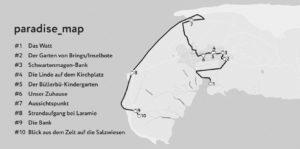 Karte mit den paradiesischen Orten auf Spiekeroog