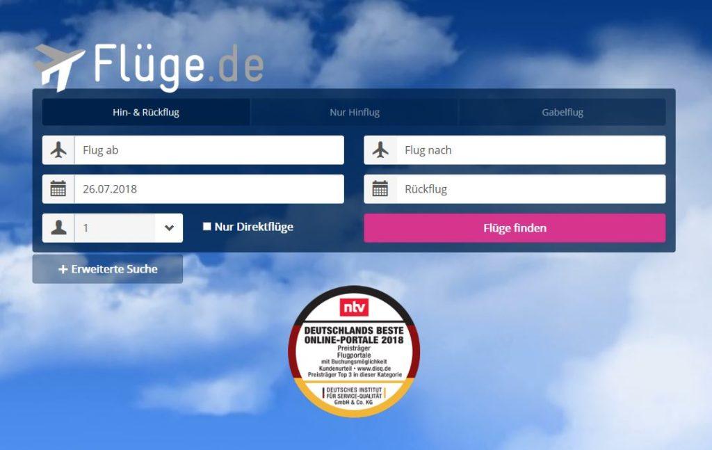 Screenshot Flüge.de