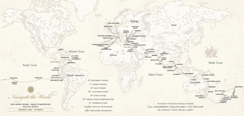 Weltkarte mit Route der Weltreise auf der Seven Seas Mariner von Regent Seven Seas Cruises